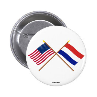 US and Netherlands Crossed Flags Pinback Button