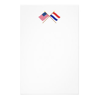 US and Netherlands Crossed Flags Stationery