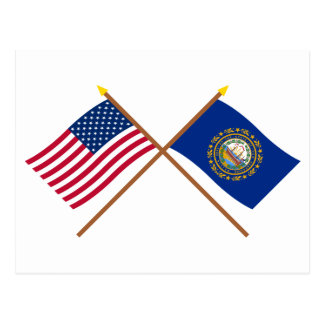 US and New Hampshire Crossed Flags Postcard