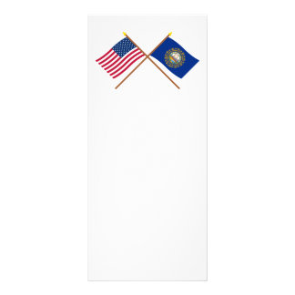 US and New Hampshire Crossed Flags Custom Rack Card