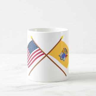 US and New Jersey Crossed Flags Coffee Mug