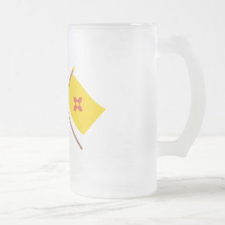 US and New Mexico Crossed Flags Frosted Glass Beer Mug