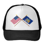 US and New York Crossed Flags Mesh Hats