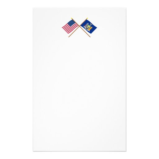 US and New York Crossed Flags Stationery