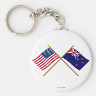 US and New Zealand Crossed Flags Basic Round Button Keychain