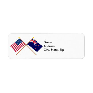 US and New Zealand Crossed Flags Label