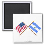 US and Nicaragua Crossed Flags 2 Inch Square Magnet