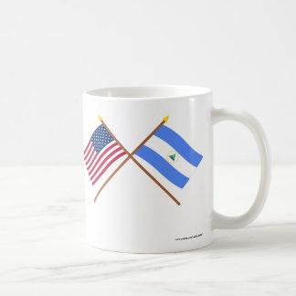US and Nicaragua Crossed Flags Coffee Mug