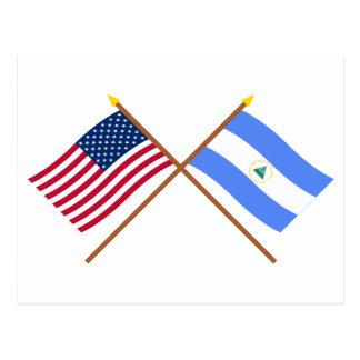 US and Nicaragua Crossed Flags Postcard