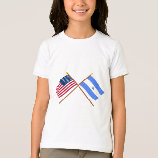 US and Nicaragua Crossed Flags T-Shirt