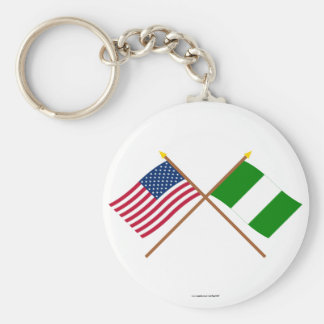 US and Nigeria Crossed Flags Keychain