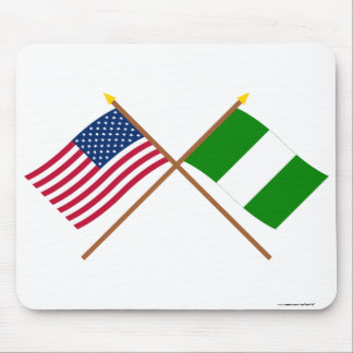 US and Nigeria Crossed Flags Mouse Pad