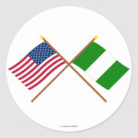 US and Nigeria Crossed Flags Stickers