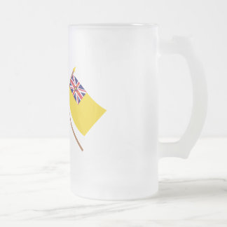 US and Niue Crossed Flags Frosted Glass Beer Mug