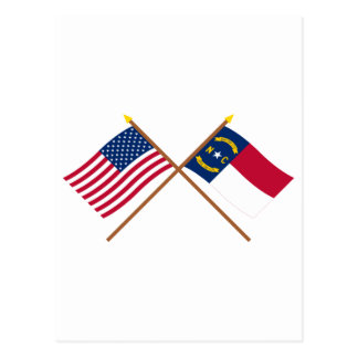 US and North Carolina Crossed Flags Postcard