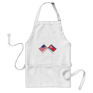 US and North Korea Crossed Flags Adult Apron