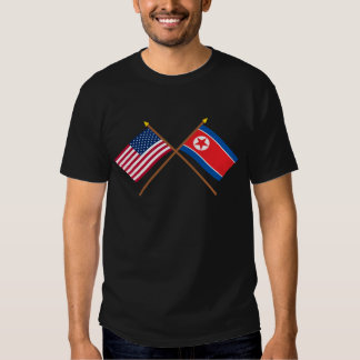 US and North Korea Crossed Flags T-Shirt
