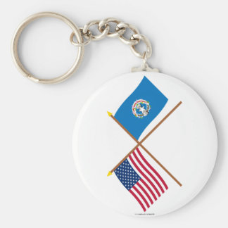 US and Northern Marianas Crossed Flags Basic Round Button Keychain