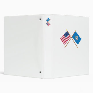 US and Northern Marianas Crossed Flags 3 Ring Binder