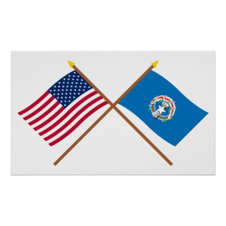 US and Northern Marianas Crossed Flags Poster