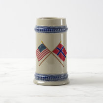 US and Norway Crossed Flags Beer Stein