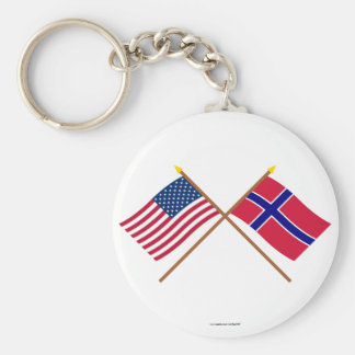 US and Norway Crossed Flags Keychain