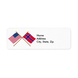 US and Norway Crossed Flags Label
