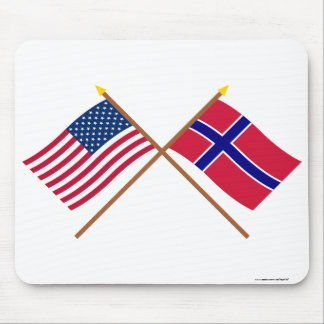 US and Norway Crossed Flags Mouse Pad
