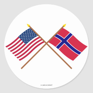 US and Norway Crossed Flags Classic Round Sticker