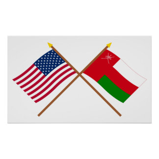 US and Oman Crossed Flags Poster