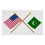 US and Pakistan Crossed Flags Posters