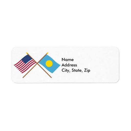 US and Palau Crossed Flags Custom Return Address Labels