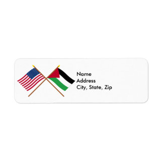 US and Palestine Crossed Flags Label