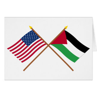 US and Palestinian Movement Crossed Flags Card