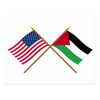 US and Palestinian Movement Crossed Flags Postcard