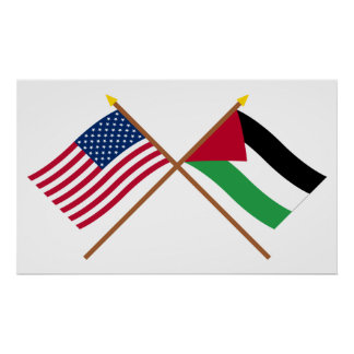 US and Palestinian Movement Crossed Flags Print