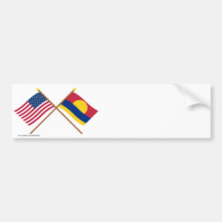 US and Palmyra Atoll Crossed Flags Car Bumper Sticker