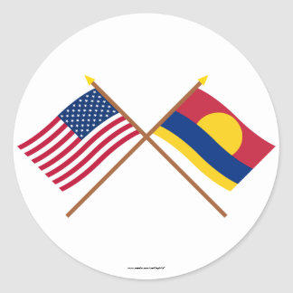 US and Palmyra Atoll Crossed Flags Classic Round Sticker
