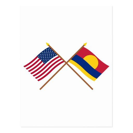 US and Palmyra Atoll Crossed Flags Postcard