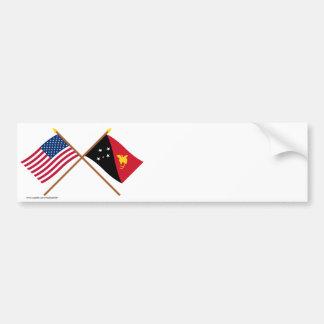 US and Papua-New Guinea Crossed Flags Car Bumper Sticker