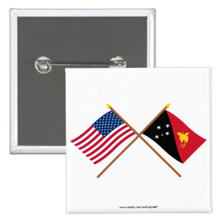 US and Papua-New Guinea Crossed Flags Pinback Button