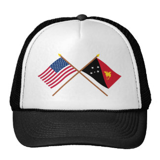 US and Papua-New Guinea Crossed Flags Trucker Hat