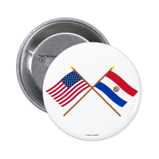 US and Paraguay Crossed Flags 2 Inch Round Button