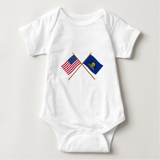 US and Pennsylvania Crossed Flags Baby Bodysuit