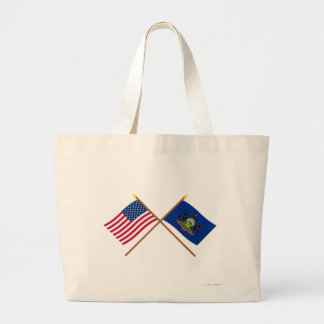 US and Pennsylvania Crossed Flags Bags