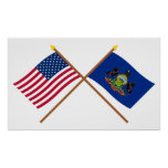 US and Pennsylvania Crossed Flags Poster