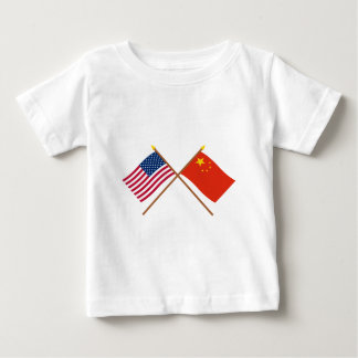 US and People's Republic of China Crossed Flags Baby T-Shirt