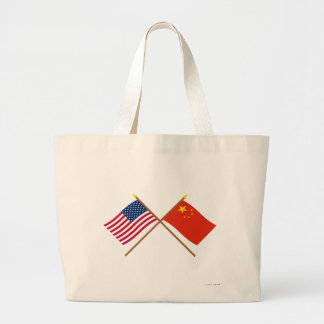US and People's Republic of China Crossed Flags Jumbo Tote Bag