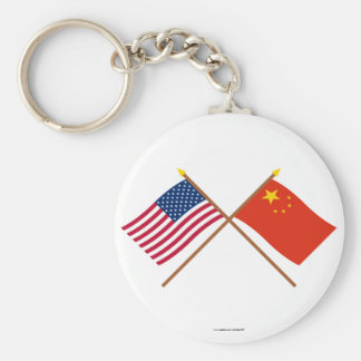 US and People's Republic of China Crossed Flags Basic Round Button Keychain