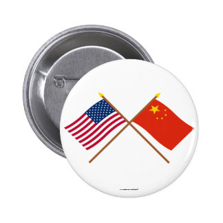 US and People's Republic of China Crossed Flags Pinback Buttons
